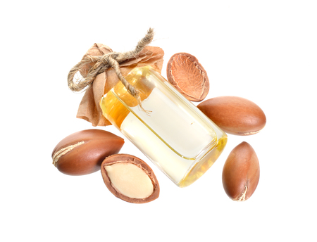 Argan seed oil. Isolated on white background.