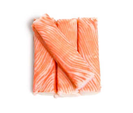 Crab sticks, krab sticks, imitation crab meat or seafood sticks. Isolated on white. Reklamní fotografie