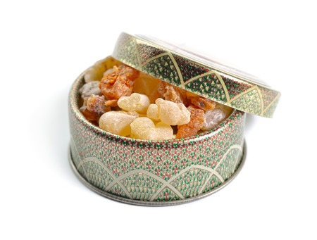 Myrrh with frankincense resin isolated on white background.