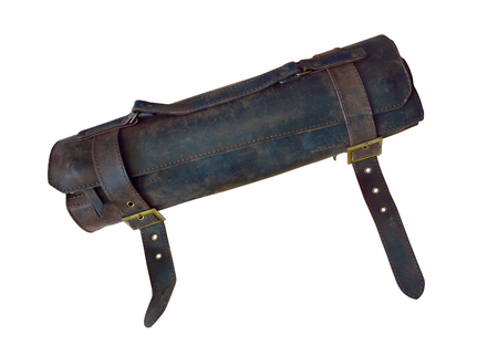 Knife Roll Leather with 2 Buckless, Knives Bag, Chef gear. Isolated on white background.