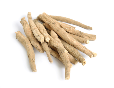 Root Withania somnifera, known commonly as ashwagandha, Indian ginseng, poison gooseberry or winter cherry 免版税图像