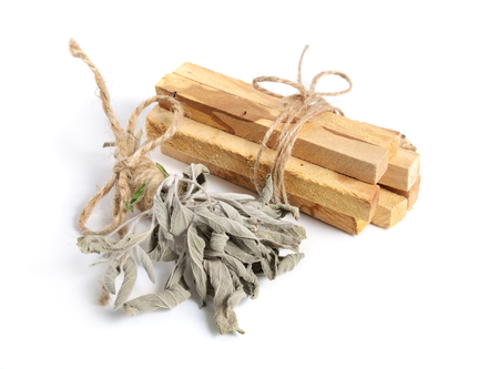 Palo santo, Holy Wood sticks with sage isolated on white background.