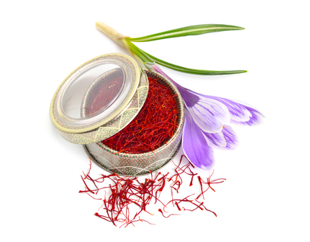 Saffron is a spice derived from the flower of Crocus sativus. Isolated on white background Standard-Bild - 120673120