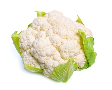 One White cauliflower isolated on white background