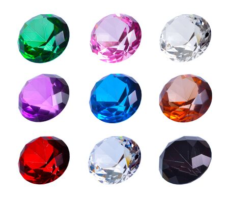 Collection of multicolored glass crystals in the shape of a diamond. Isolated Stockfoto