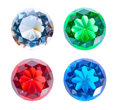 Collection of multicolored glass crystals in the shape of a diamond. Isolated.