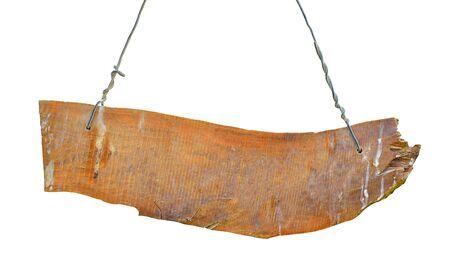 Tavola di legno rustica, vecchia plancia. Isolato su sfondo bianco.