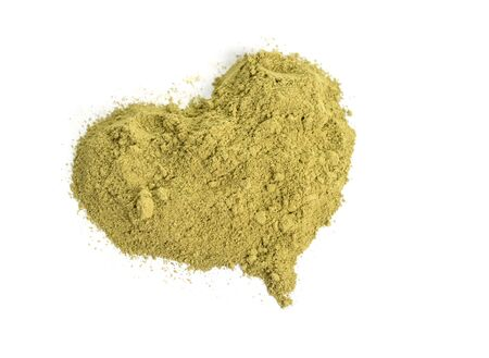 Henna powder. Also known as mailanchi in Malayalam, mehndi in Hindi, and hinah in Hebrew, plant Lawsonia inermis, hina henna tree or the mignonette tree, and the Egyptian privet. Isolated