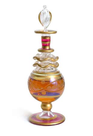 Vintage perfume bottle. Isolated on white background