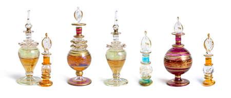 Vintage perfume bottles set. Isolated on white background Standard-Bild