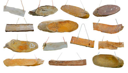 Rustic wooden board, Old plank. Set. Isolated on white background Standard-Bild