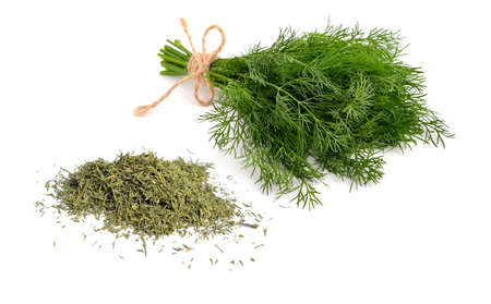 Dried green dill isolated on white background Standard-Bild