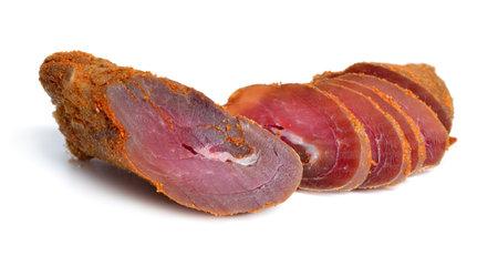 Spicy Turkey basturma isolated on white background Standard-Bild