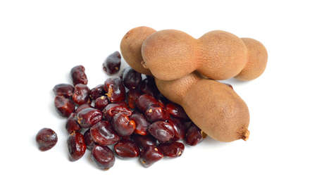 Ripe tamarind fruit isolated on white background
