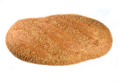 Bread loaf with sesame seeds isolated on white background