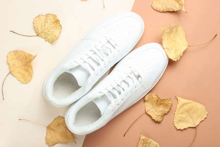 White sneakers and fallen autumn leaves on a beige paper background. Autumn collection, fashionable shoes. Top View