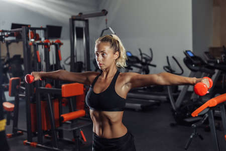 Young fit woman in sportswear is training with dumbbells in the gym. Healthy lifestyle concept. Body training with free weights Banco de Imagens