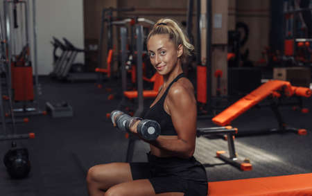 Young fitness woman doing dumbbell lifts for biceps while sitting on a bench in the gym. Training concept with free weights. Banco de Imagens