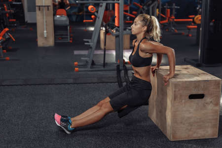 Young attractive sport woman in sportswear is practicing back push ups at wooden box in the gym. Functional Training Concept Banco de Imagens