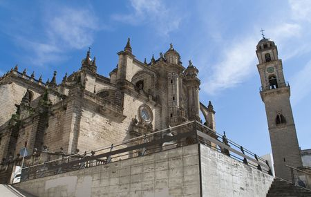 Scrap view of the cathedral of Jerez de la Frontera Standard-Bild