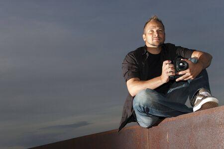 Fotograaf met het werk Stockfoto