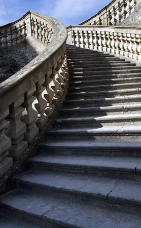 Stone stairs with blue sky photo