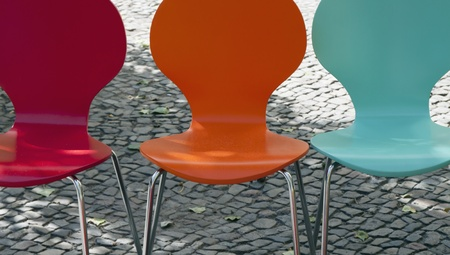 nostalgic chairs in bright colors photo