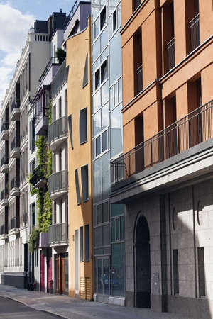 facades of the newly built town houses in berlin's new center, germany photo