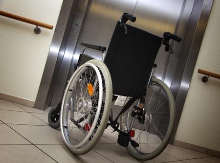 people in elevator: wheelchair Stock Photo