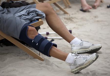 Protective sleeve on the knee of an athlete Reklamní fotografie