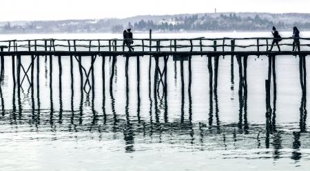 historically: Wooden bridge Stock Photo