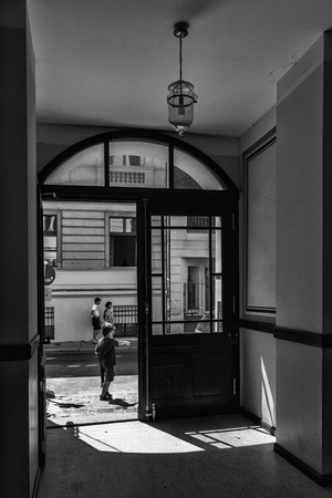 property berlin: House entrance in black and white