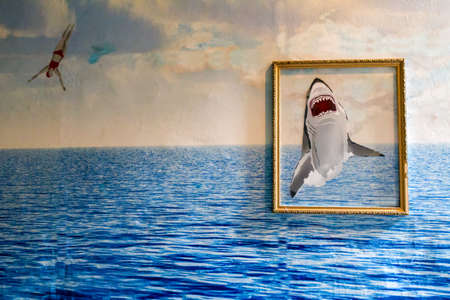 Painting with a shark