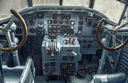 closely: Cockpit of an old plane