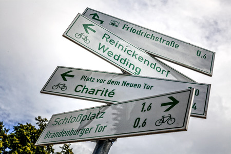 Signposts for cyclists in Berlin