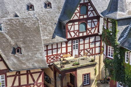half timbered house: Balcony of a half-timbered house Stock Photo