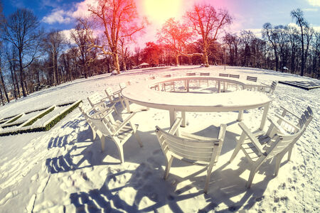 blinded: round table in winter