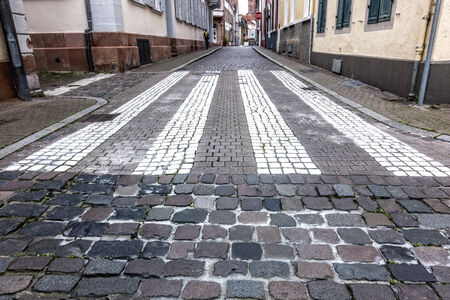 bumpy: Pavement marking in the old town of Heidelberg