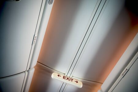 emergency exit: Emergency exit in an airplane