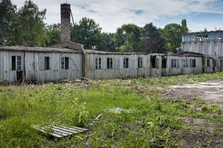 barracks: old barracks in an industrial area Stock Photo
