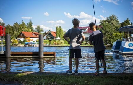 two boys: Two boys fishing Stock Photo