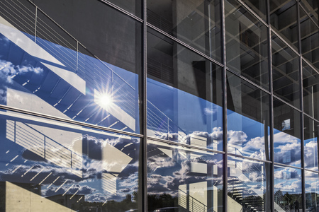 blinded: Glass front on Paul Lobe Haus in Berlin Stock Photo