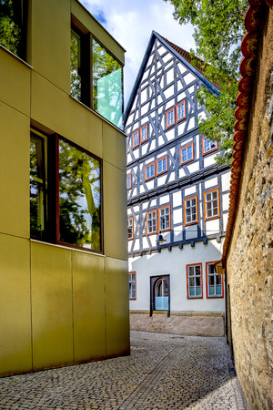 pitched roof: a half-timbered house in Erfurt Stock Photo