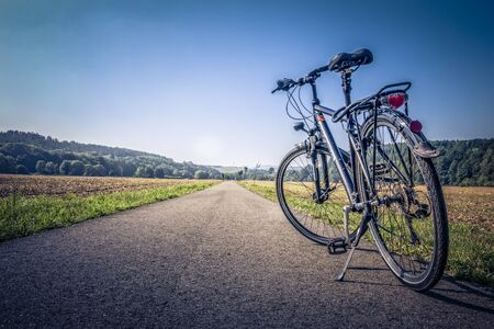 road bike: Bike on a country road Stock Photo