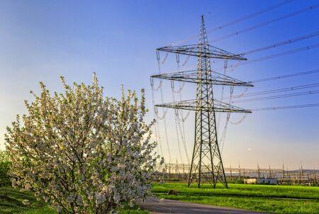high voltage current: an electricity pylon