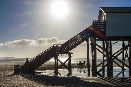 Huis op het strand Stockfoto