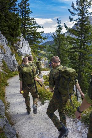 berchtesgaden: Bundeswehr soldiers at the summit of Jenner in Berchtesgaden, Bavaria Stock Photo