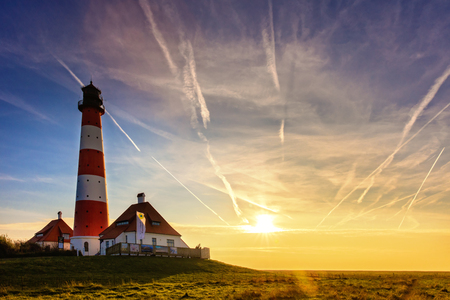 westerhever: The lighthouse in Westerhever Stock Photo