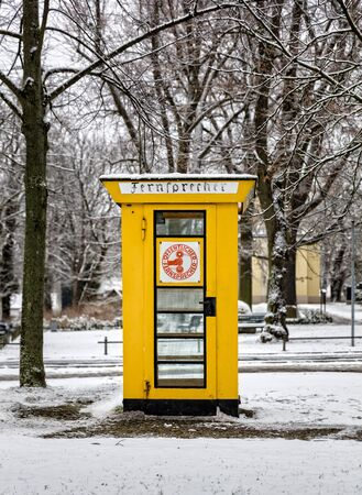 cell phone booth: a historic phone booth in Berlin Editorial
