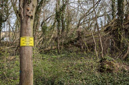 contradiction: signage on tree Stock Photo